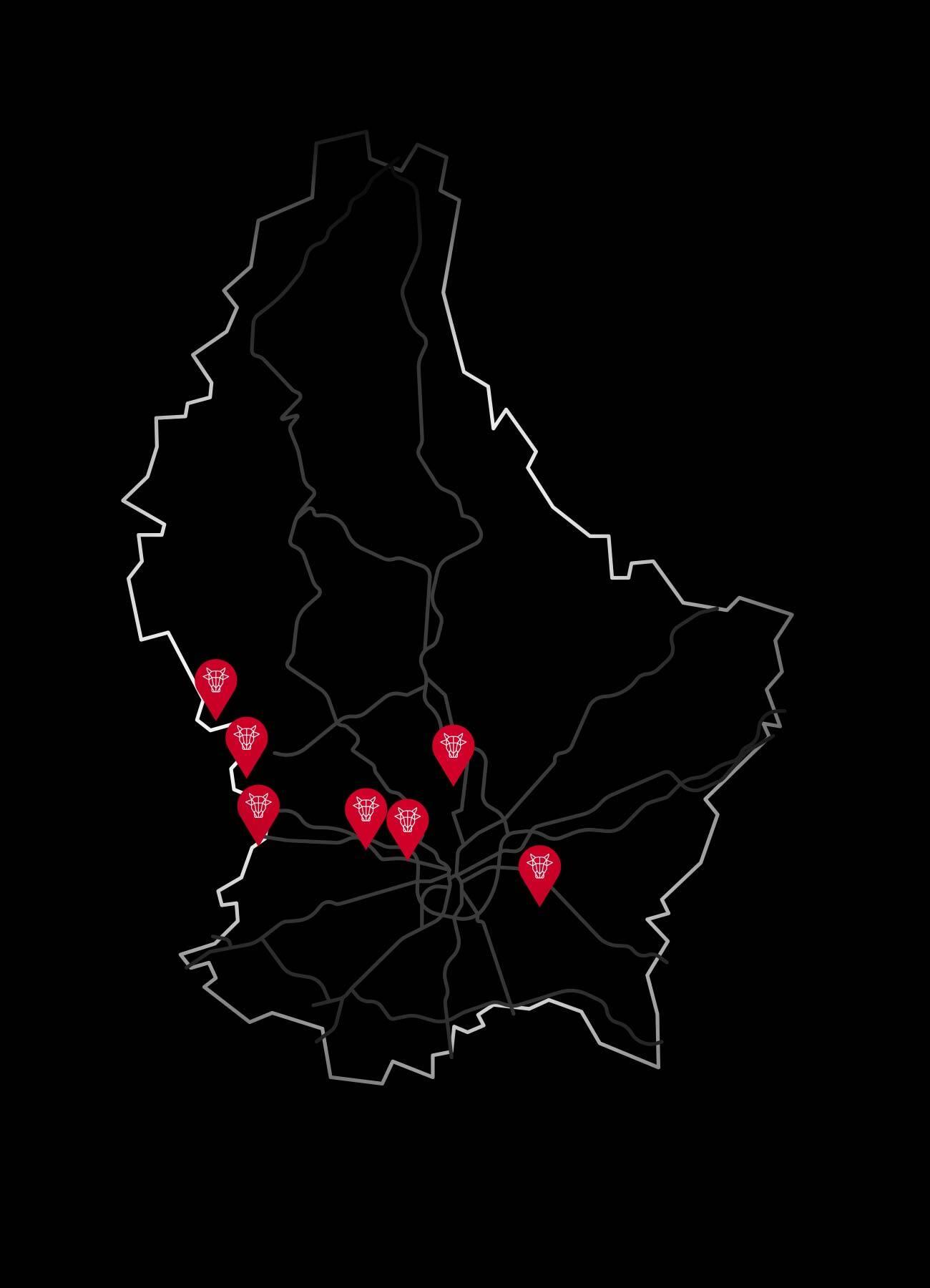 Carte points de vente boucherie Kirsch